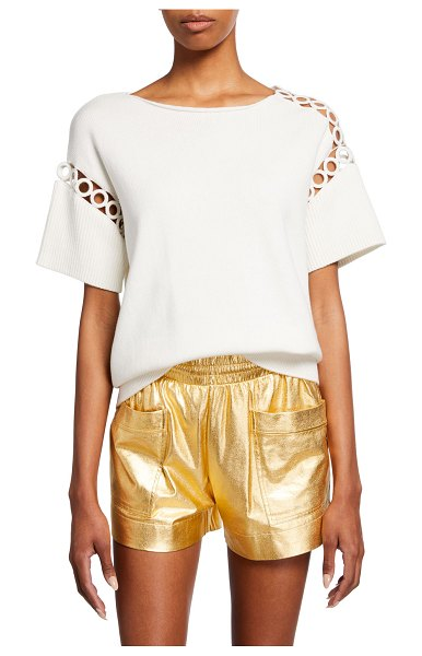 Dries Van Noten Nettle Circle-Cutout Ribbed Shirt in off white
