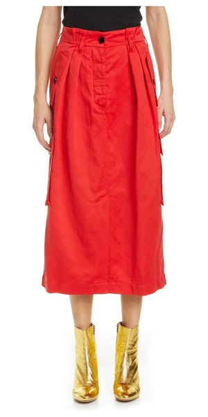 Dries Van Noten savannah cotton & wool midi cargo skirt