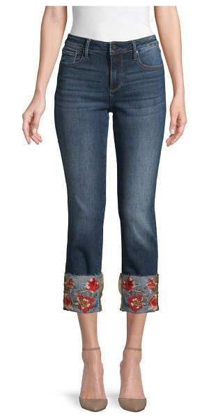 Driftwood Colette Floral Embroidery Straight Cropped Jeans in medium wash