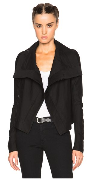 DRKSHDW by Rick Owens Coated Biker Jacket in black - Self: 97% cotton 3% spandex - Lining: 100% cotton.  Made...