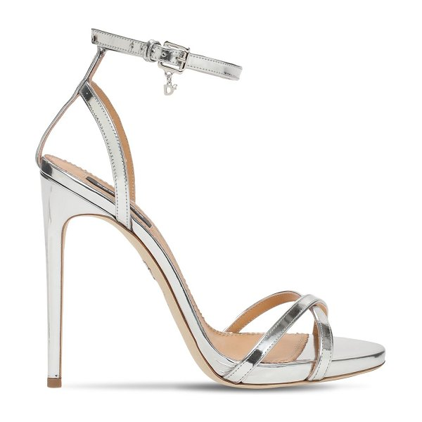 DSQUARED2 110mm janie metallic leather sandals in silver
