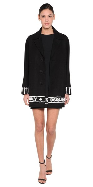 DSQUARED2 Embroidered hem wool cloth coat in black