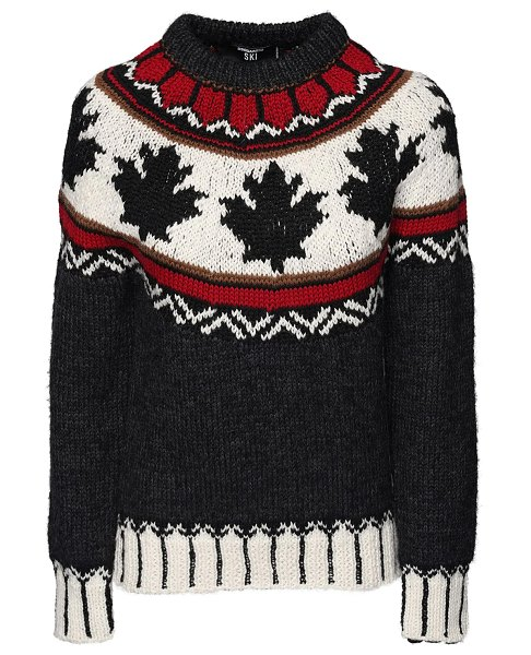 DSQUARED2 Maple leaf intarsia wool knit sweater in multicolor