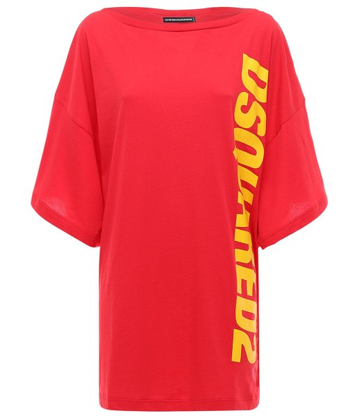DSQUARED2 Oversized printed logo t-shirt dress in red,yellow