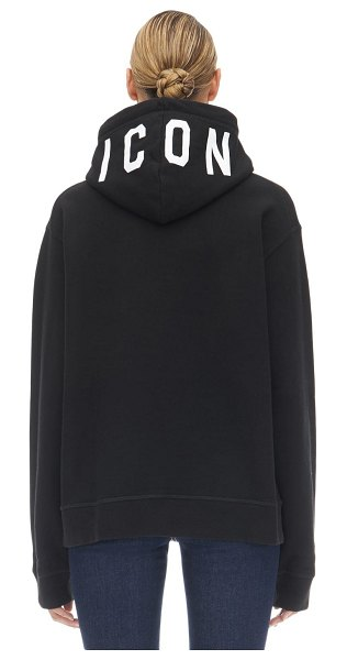 DSQUARED2 Printed sweatshirt hoodie in black
