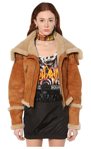 DSQUARED2 Shearling bomber jacket in beige