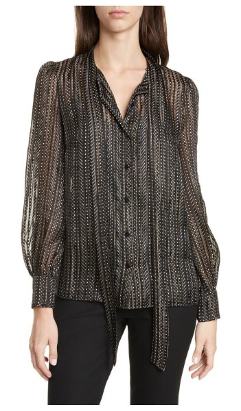 DVF lanie tie neck blouse in black/gold