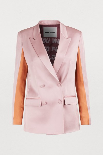 EACH x OTHER Two-tone blazer in dusty pink