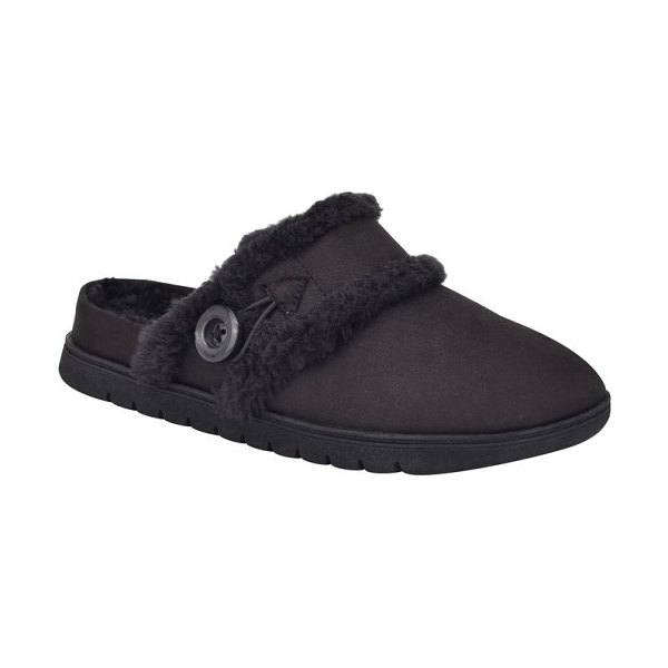 Easy Spirit season faux fur slipper in black fabric