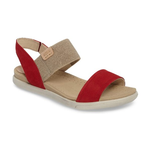 ECCO 'damara' sandal in red - An elastic band and goring at the side extends the...