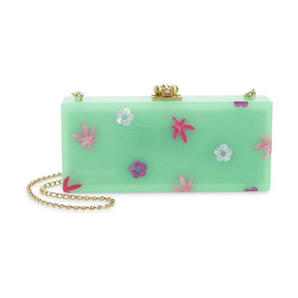 Edie Parker floral slim acrylic box clutch in green multi