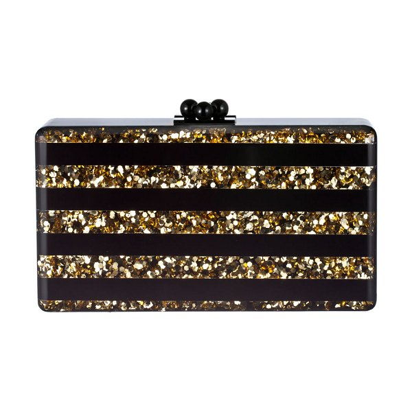 Edie Parker Jean Confetti-Striped Box Clutch Bag in black