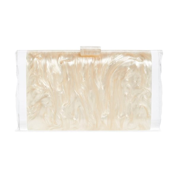 Edie Parker lara acrylic clutch in nude pearlescent