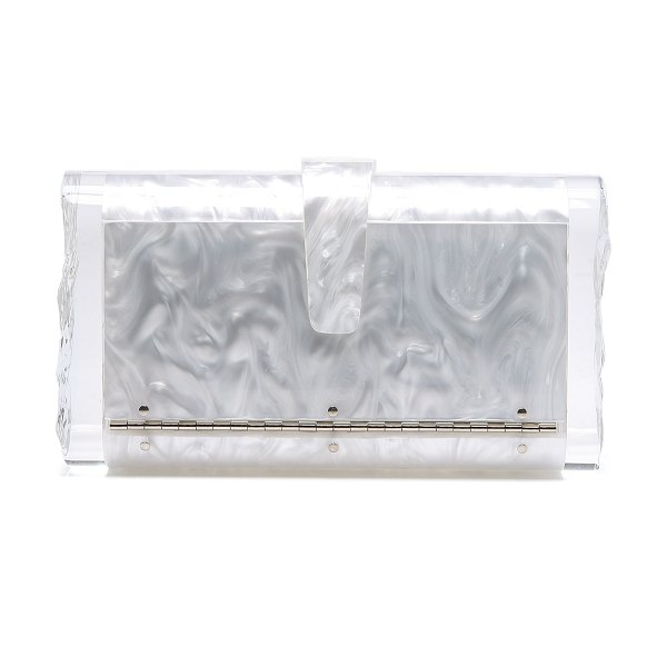 Edie Parker lara solid clutch in white pearlescent