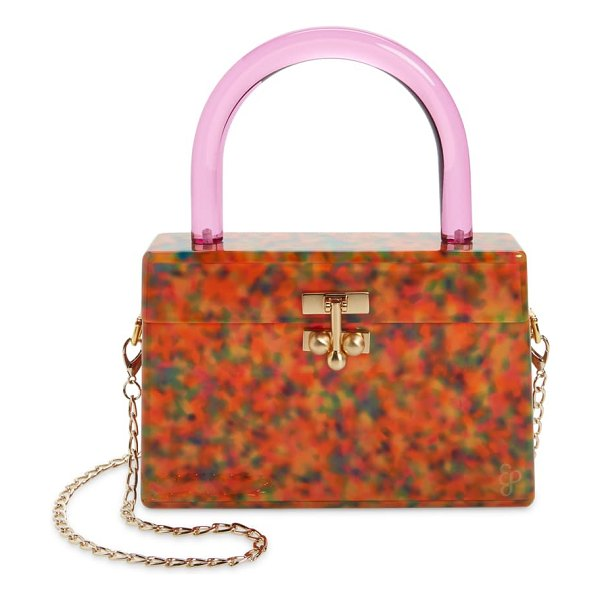 Edie Parker miss mini acrylic box bag in party tortoise