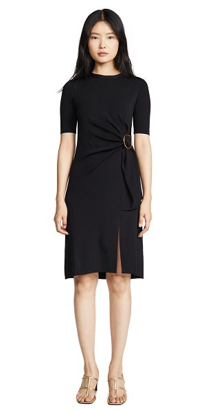Edition10 belted short sleeve dress in black