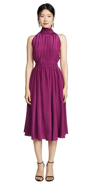 Edition10 high neck silk dress in grape royale