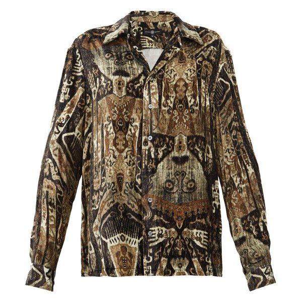 EDWARD CRUTCHLEY raja print cuban collar velvet shirt in brown multi