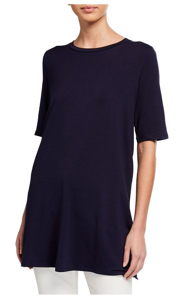 Eileen Fisher 1/2-Sleeve Round-Neck Tunic in navy