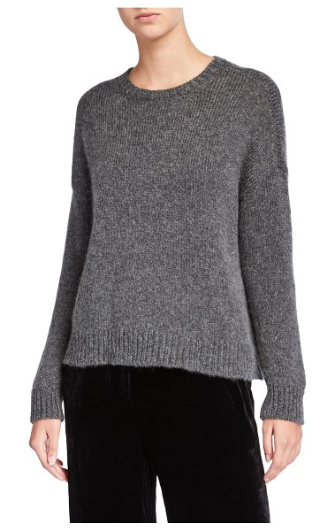 Eileen Fisher Airspun Crewneck Long-Sleeve Sweater in charcoal