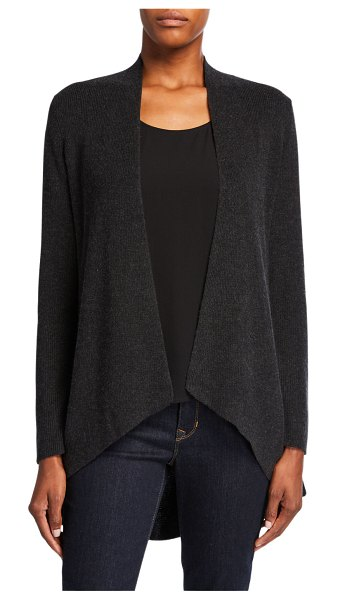 Eileen Fisher Angle-Front Silk/Cashmere Cardigan in charcoal