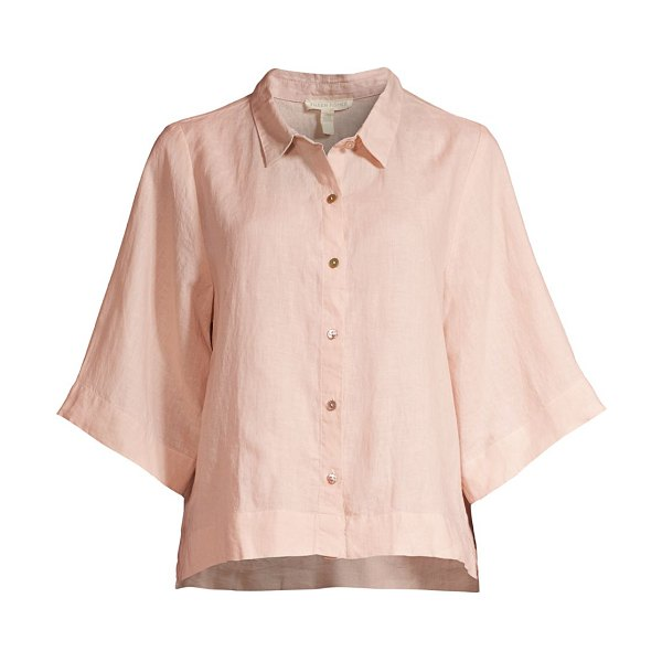 Eileen Fisher classic flare-sleeve linen shirt in powder
