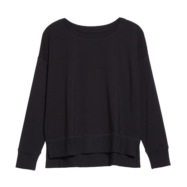 Eileen Fisher crewneck boxy top in black