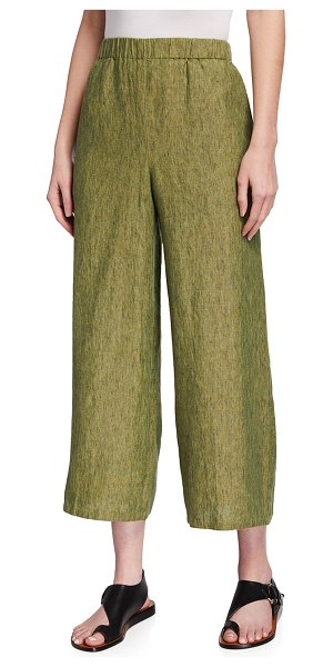 Eileen Fisher Cropped Organic Linen Delave Wide-Leg Pants in coriander