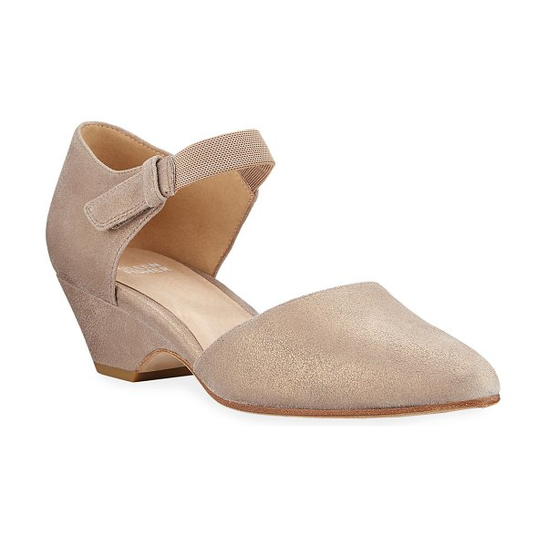 Eileen Fisher Gal Brushed Suede Pumps in gold
