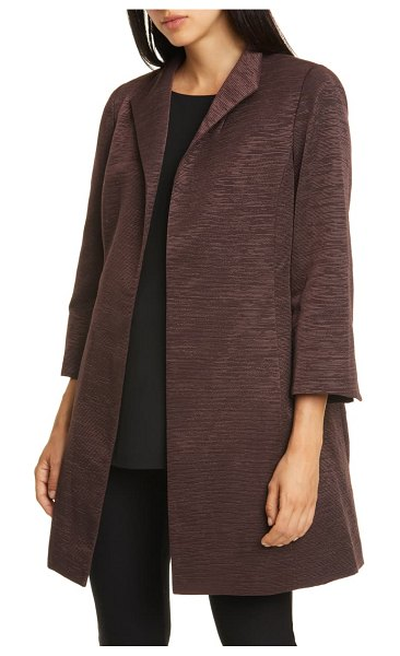 Eileen Fisher high collar bracelet sleeve cotton blend coat in cassis