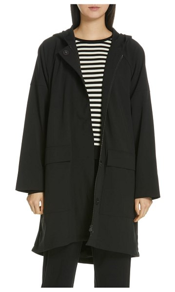 Eileen Fisher hooded a-line coat in black - The layer-over-everything coat to take you into next...