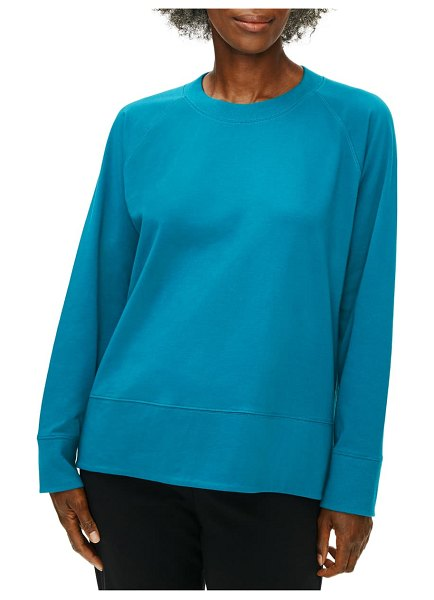 Eileen Fisher long sleeve organic stretch cotton top in jewel
