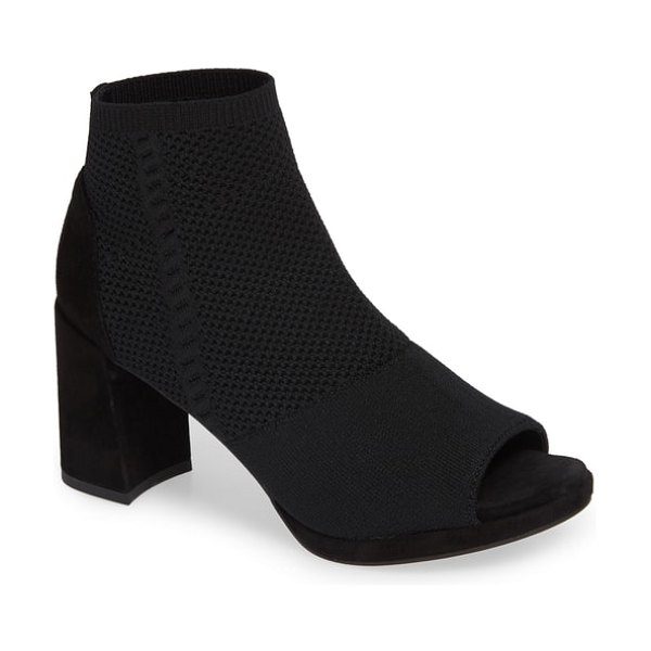 Eileen Fisher margate peep toe bootie in black stretch fabric