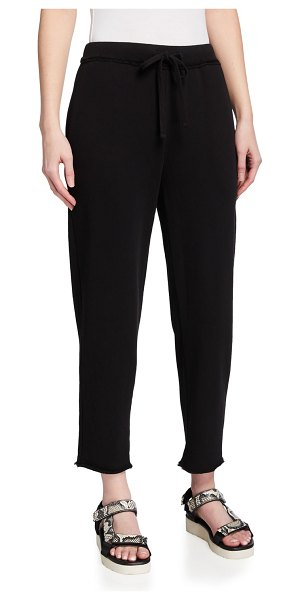 Eileen Fisher Organic Cotton French Terry Ankle Track Pant in black