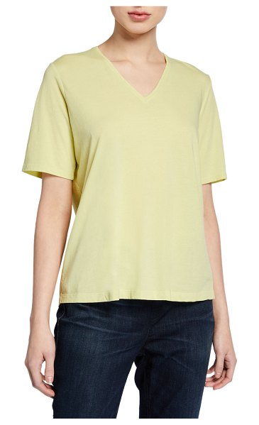 Eileen Fisher Organic Cotton V-Neck Short-Sleeve Jersey Tee in bright yellow