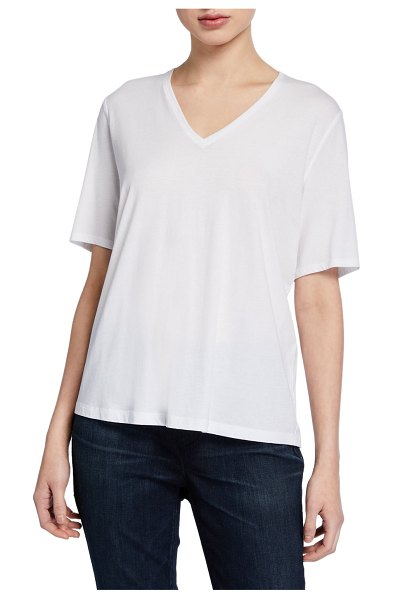 Eileen Fisher Organic Cotton V-Neck Short-Sleeve Jersey Tee in white