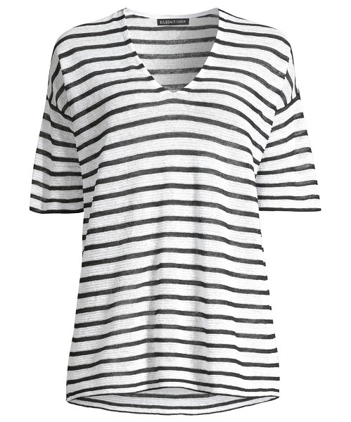 Eileen Fisher organic linen crepe striped v-neck tee in black white