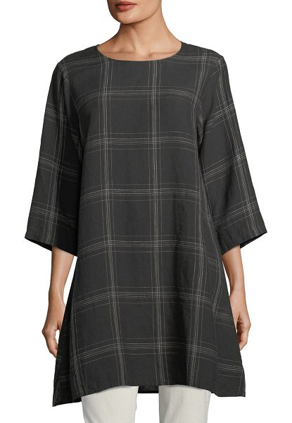 Eileen Fisher Organic Linen Plaid Tunic in black