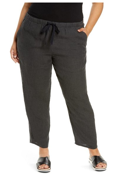 Eileen Fisher puckered organic linen ankle pants in black