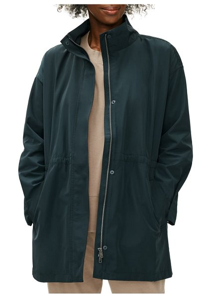 Eileen Fisher recycled polyester coat in forest night
