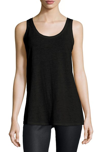 Eileen Fisher Slub Organic Linen Jersey Long Tank in black