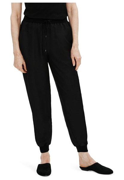Eileen Fisher smooth silk slouchy ankle pants in black