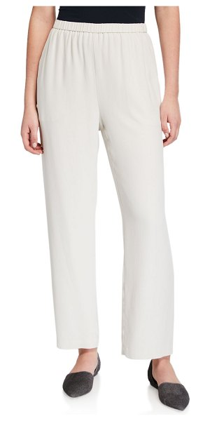 Eileen Fisher Straight-Leg Silk Georgette Crepe Ankle Pants in ivory