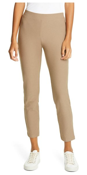 Eileen Fisher stretch crepe slim ankle pants in driftwood