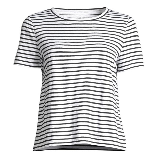 Eileen Fisher striped organic linen jersey tee in white blue