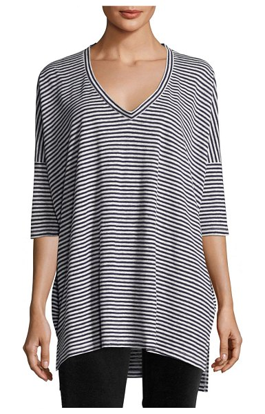 Eileen Fisher Striped Organic Linen Jersey V-Neck Tunic in midnight/white