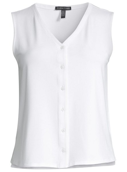 Eileen Fisher v-neck button-up tank in white,black
