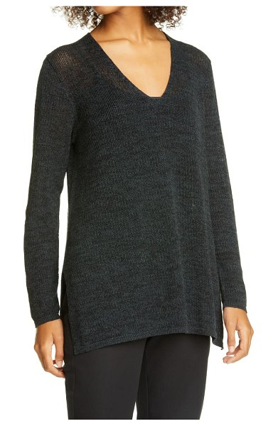 Eileen Fisher v-neck organic cotton tunic sweater in fongt
