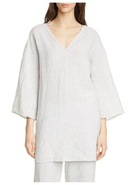 Eileen Fisher v-neck organic linen tunic in pearl