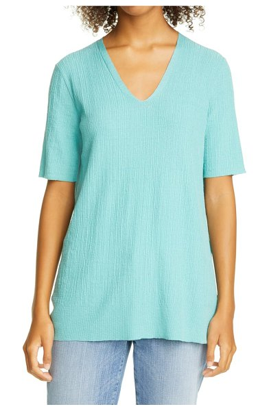 Eileen Fisher v-neck silk knit tunic in segrn